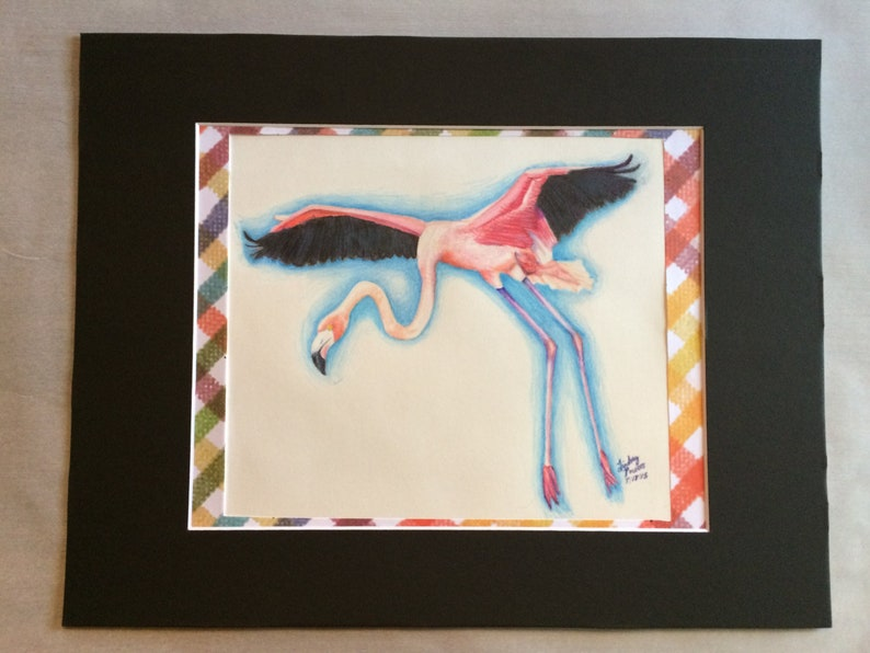 Vol Flamant Rose Oiseau En Vol Dessin Realiste Flamingo Etsy