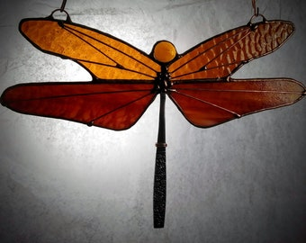 Stained Glass Dragonfly Amber and Streaky Sunset Oranges