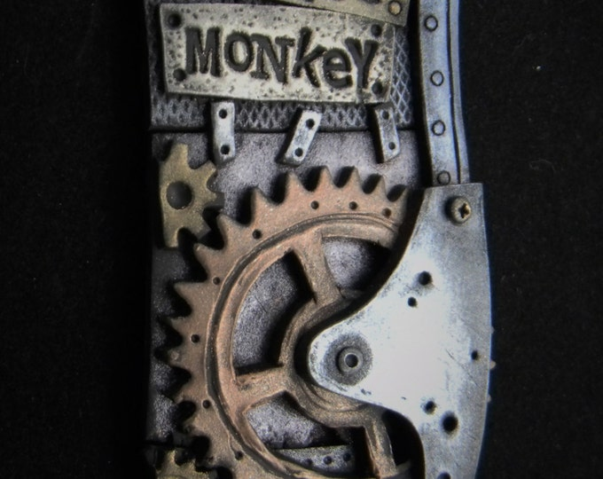 Grease Monkey - Steampunk Fantasy Polymer Clay  Necklace  OOAK