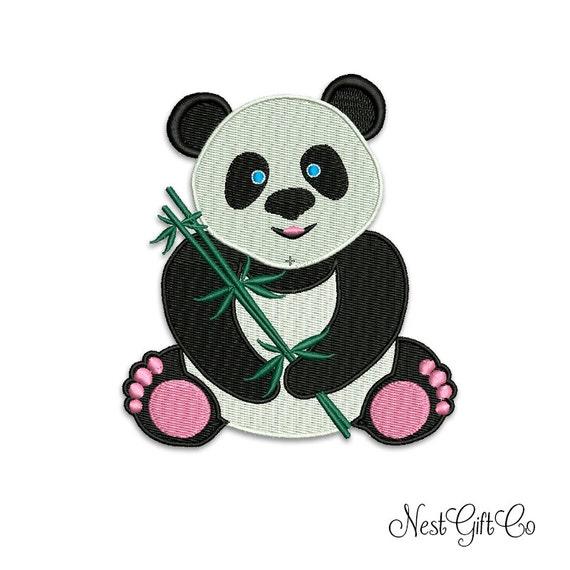 Bordados Panda Bear oso bebé patrón de bordado para descarga | Etsy