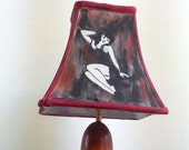 Bombshell Pin-Up Girl, Nuclear Explosion Lamp - made of Ash wood with hand painted stained shade. Very unique, original art.