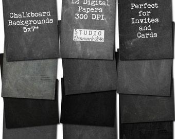 Chalkboard Digital Paper 5x7 For Cards Invitations