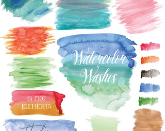 095abc05af08 Watercolor Washes Clipart - Colorful Watercolor Clip Art - PNG with  Transparent Background - Watercolor Elements - Instant Download