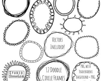 Doodle Circle Frames Clipart And Vectors