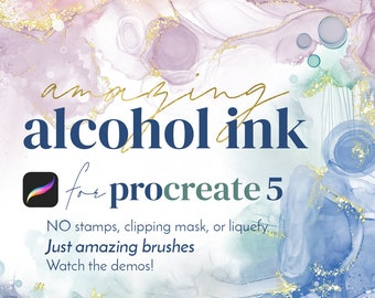 Amazing Alcohol Ink Brush Bundle for Procreate App on iPad - Fully Dynamic Alcohol Ink Brush Strokes in Procreate for the First Time!