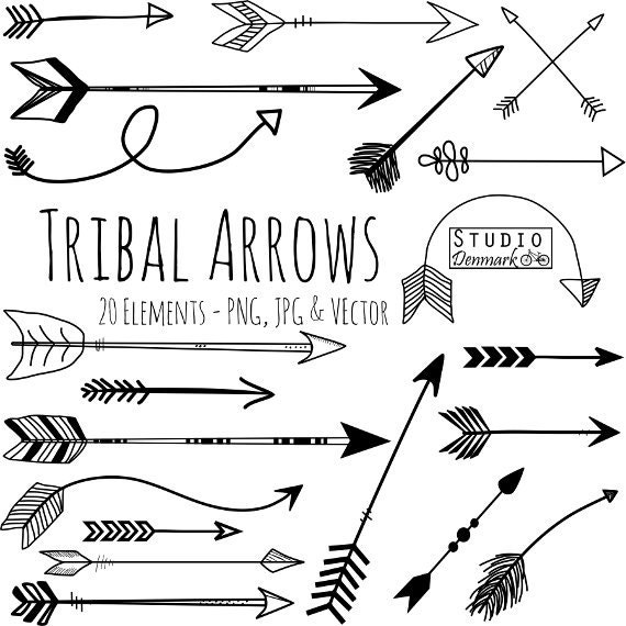 tribal arrow clipart and vectors hand drawn arrow clip art etsy rh etsy com Boho Arrow Vector Boho Arrow Vector