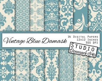 """Blue Damask Digital Paper - """"Vintage Blue"""" - Decorative Floral Blue / Ivory Wedding Lace Backgrounds - Commercial Use - Instant Download"""