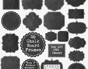 Chalkboard Frames Clipart - 20 Chalkboard Clipart Labels / Tags  - Real Chalkboards - Commercial Use - Instant Download Blackboard Frames