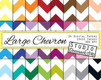 Large Chevron Digital Paper Value Pack - 24 Colors - Commercial use - 12inx12in 300 dpi jpg - Instant Download Chevron Paper