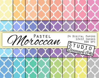 Pastel Moroccan Digital Paper Value Pack - 24 Colors - Commercial Use - 12in x 12in 300 dpi jpg - Instant Download