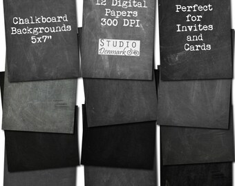 Chalkboard Digital Paper 5x7 For Cards Invitations