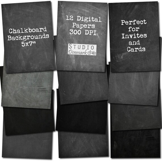chalkboard digital paper 5x7 for cards invitations etsy
