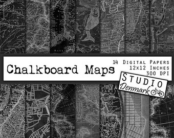 Chalkboard Maps Digital Paper - 14 Antique Black and White Maps - Aged and Distressed Black Map Pages - Commercial Use - Instant Download