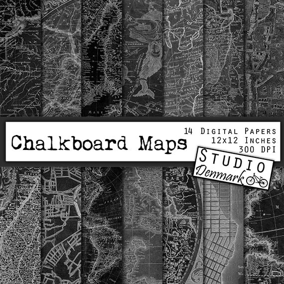 chalkboard maps digital paper 14 antique black and white etsy