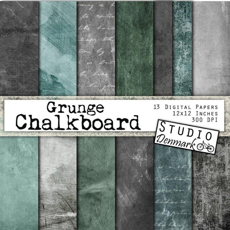 Grunge Chalkboard Digital Paper 13 Distressed Chalkboard Etsy