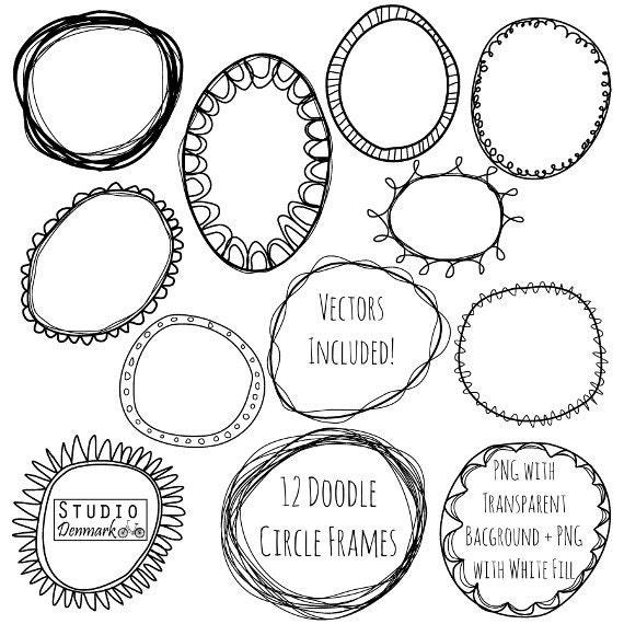 Doodle Circle Frames Clipart and Vectors Hand Drawn Circle