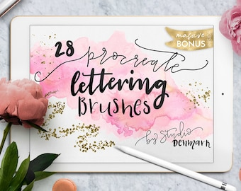 Lettering Brush Bundle for Procreate App for iPad Pro - With Bonus Gold Chalkboard and Watercolor Textures !