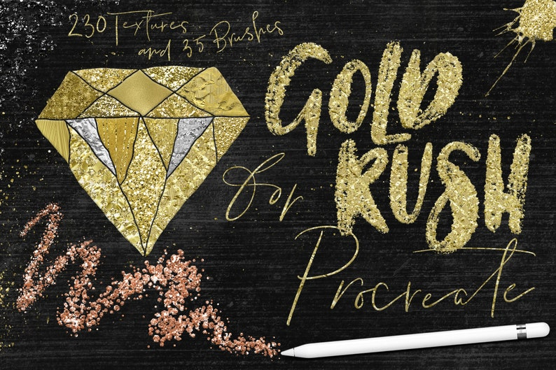 Gold Rush Confetti and Glitter Brush / Texture Bundle for Procreate App on  iPad Pro - Gold / Rose Gold / Copper / Silver and more!