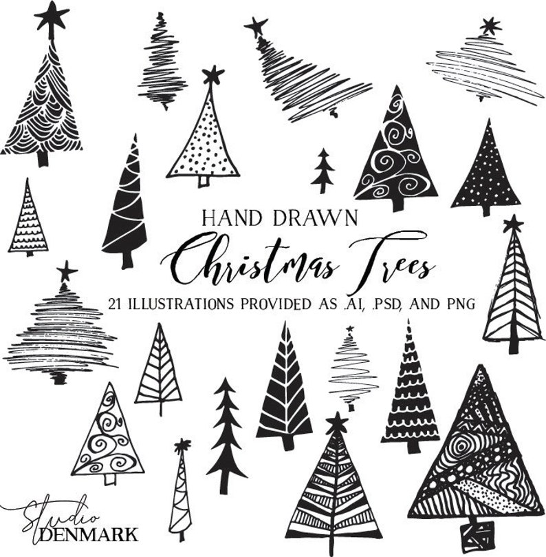 Christmas Trees Vector Clipart Holiday Clip Art Hand Drawn Illustrations For Cards Art Packaging Commercial Use