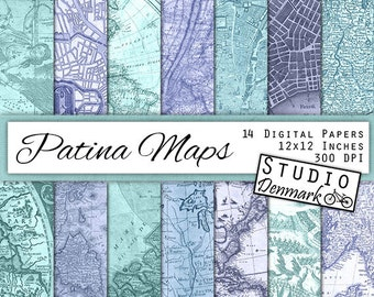 Patina Maps Digital Paper - 14 Antique Blue / Green Maps - Aged Teal / Turquoise Atlas Pages - Commercial Use - Instant Download
