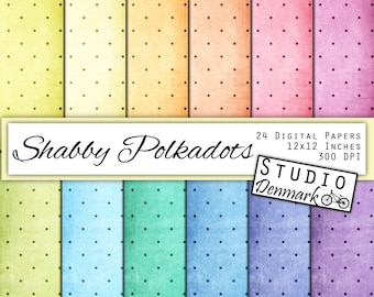Shabby Polkadots Digital Paper - Grunge Watercolor Polka Dots - 12 Pastel Colors - Commercial Use - 12x12in - Instant Download