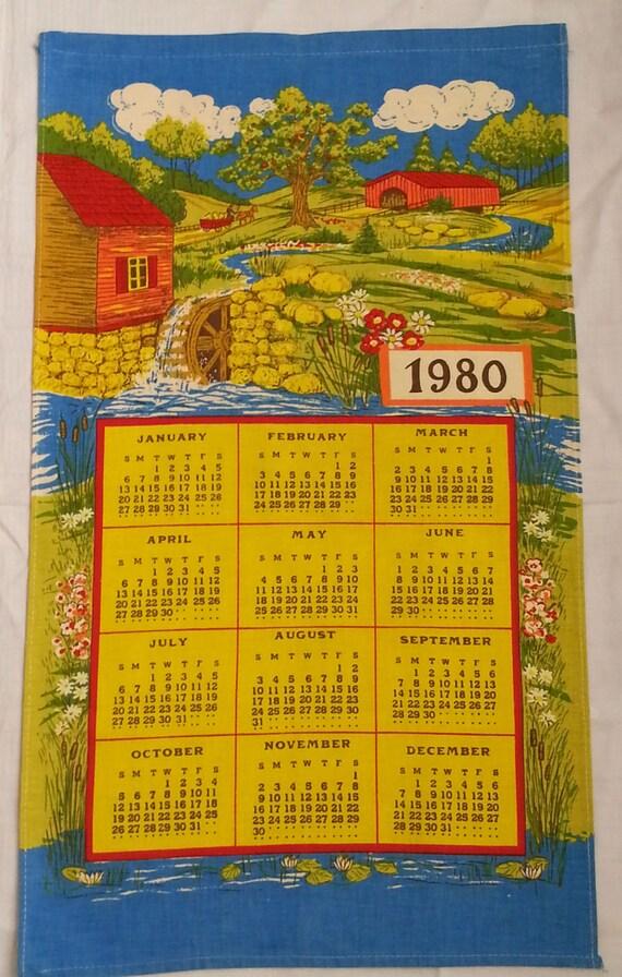 Vintage 1980 Calendar Towel Old Mill Rustic Scene Cotton Nos Etsy