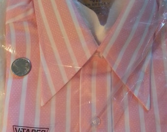 Pink Stripe Van Heusen 417 V-Taper Dress Shirt 15/32