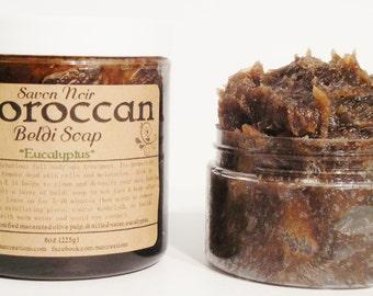 Savon Noir Moroccan Beldi Soap Face & Body Cleanser/Shave Soap w/Eucalyptus Peppermint Spa Treatment w/ Organic Argan Oil 9oz