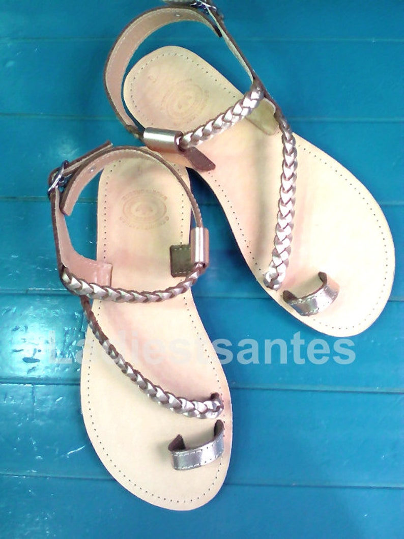 ad49ba29417 Greek Leather Sandals Rose Gold Sandals Flat Leather