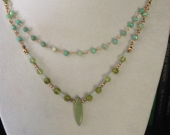 Green Kyanite and Gemstone Necklace