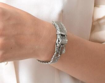 Mesh Belt Buckle Bracelet Vintage Silvertone Chainlink Bracelet