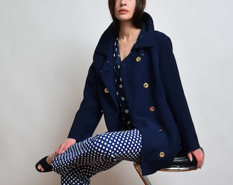 1960s Navy Wool Jacket 60s Vintage Double Breasted Pea Coat S M