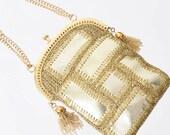 1960s Metallic Gold Patchwork Evening Bag 60s Vintage Kisslock Purse