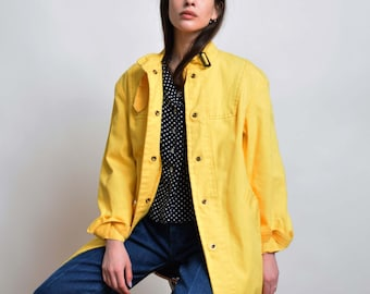 1960s Yellow Cotton Trench Coat 60s Vintage Lightweight Trench Jacket Mod Classic Style XS S M