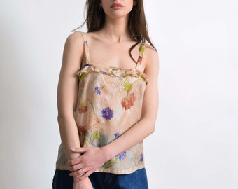 1930s Floral Silk Camisole Top 30s Vintage Sheer Silk Blouse XS