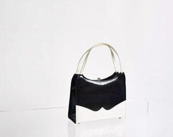 Vintage 1950s Patent Handbag 50s Black and White Purse