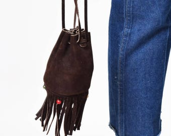 1970s Brown Suede Pouch with Fringe 70s Vintage