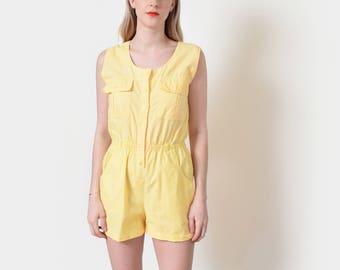 Yellow Cotton Romper 80s Vintage Playsuit Onesie Jumpsuit S M
