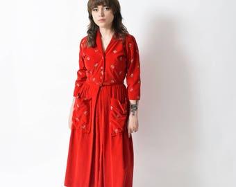 c3e288edac Dorian Velvet Hostess Dress with Strawberry Embroidery Vintage Shirtwaist  Dress 28 S M