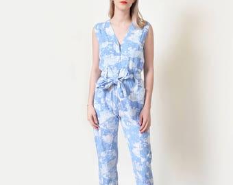 Blue Abstract Print Jumpsuit Vintage Cotton Romper Playsuit Onesie XS S M