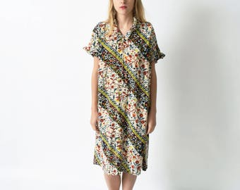 1970s Floral Silk Shift Dress with Ruffles 70s Vintage Sack Dress S M L