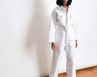 b493fae6edfe Vintage White Cotton Coveralls Boiler Suit Jumpsuit Flight Suit S M