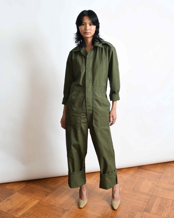 Vintage Army Green Coveralls Workwear Boiler Suit