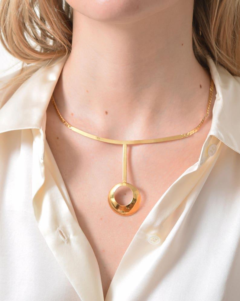 Suspended Circular Pendant Necklace Vintage Goldtone Collar Necklace