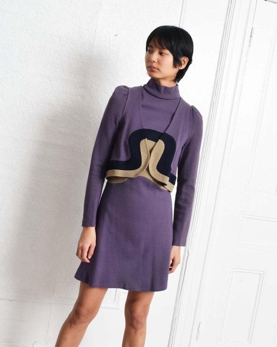 Vintage 1970s Color Block Dress Set