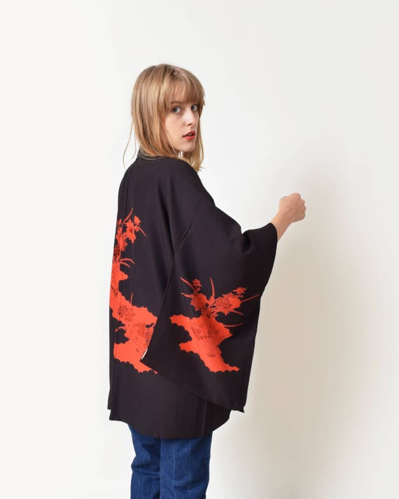 Veste kimono noire courte