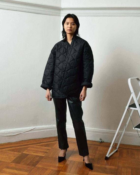 Vintage Black Liner Jacket Quilted Jacket - image 2