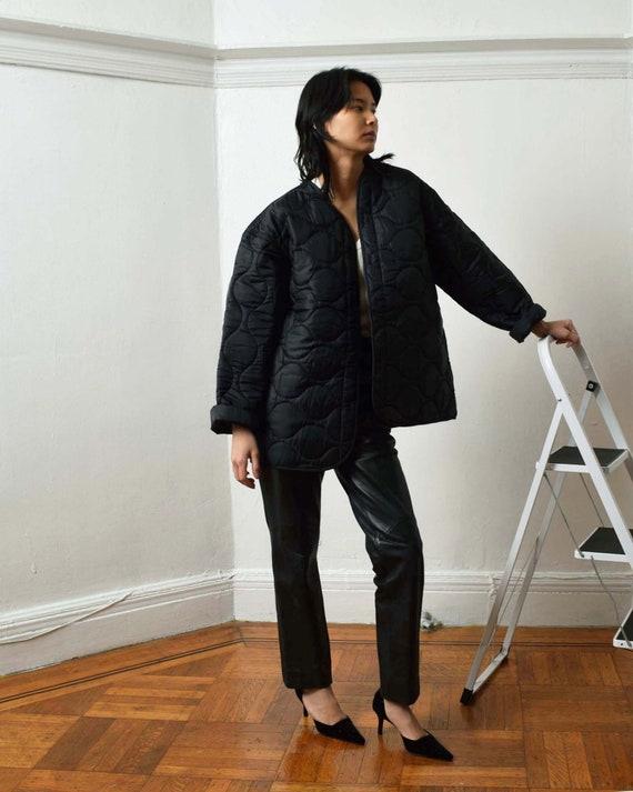 Vintage Black Liner Jacket Quilted Jacket - image 3
