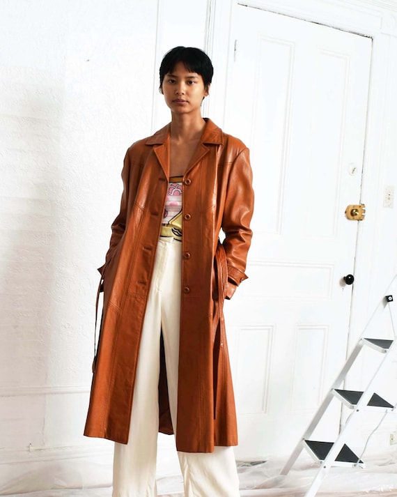 Vintage 1970s Caramel Leather Trench by Etsy