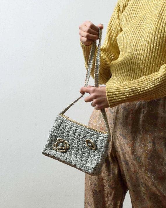 Vintage 1940s Metallic Crochet Purse